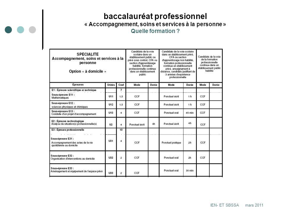 baccalauréat professionnel « Accompagnement, soins et services à la personne » Quelle formation ? IEN- ET SBSSA mars 2011