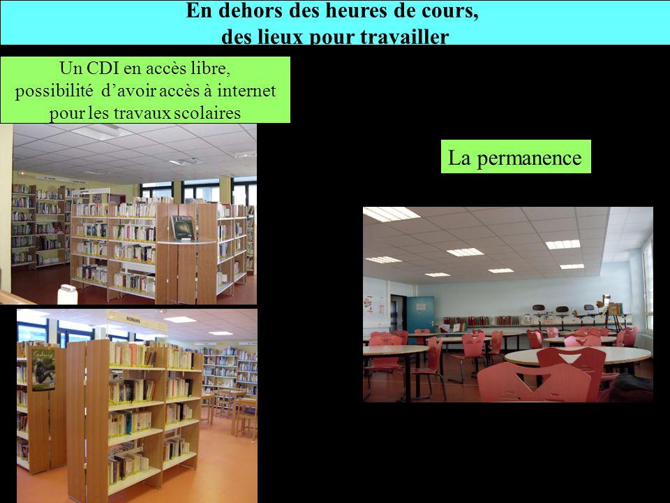 En dehors des heures de cours, des lieux pour travailler Un CDI en accès libre, possibilité davoir accès à internet pour les travaux scolaires La perm