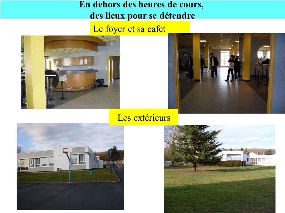 Le foyer et sa cafet Les extérieurs En dehors des heures de cours, des lieux pour se détendre