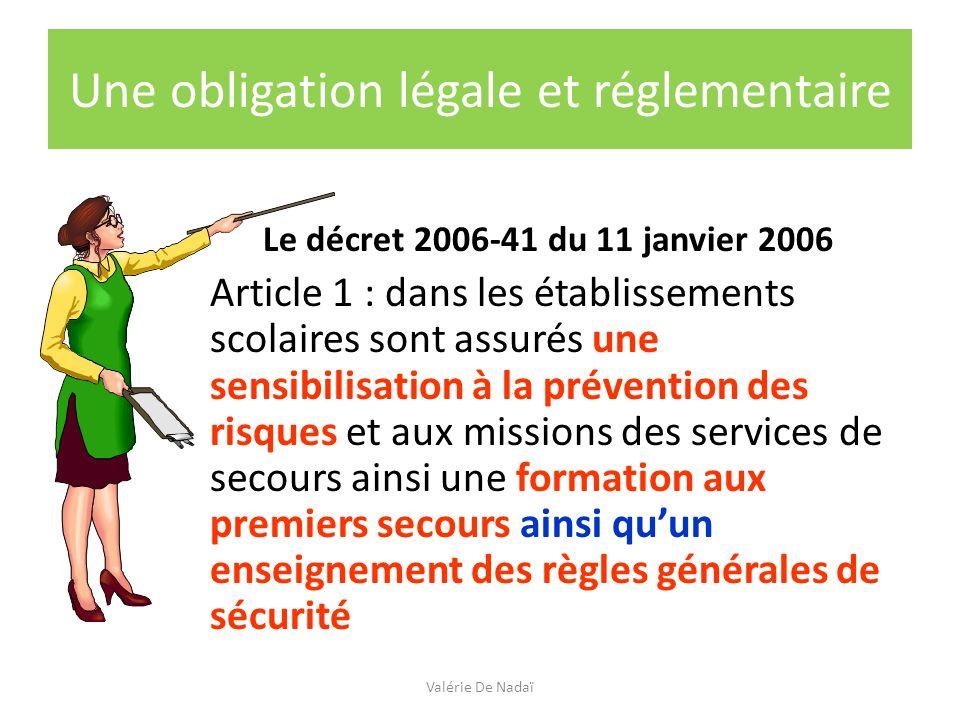 Une obligation légale et réglementaire Valérie De Nadaï