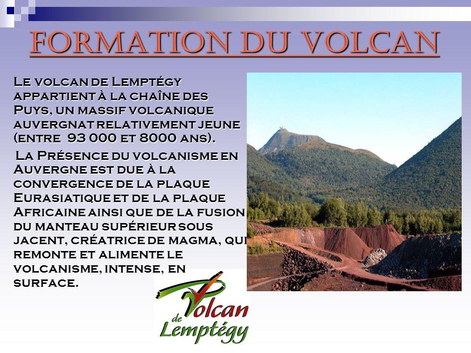 Le volcan de Lemptégy fut créé il y a environ 30 000ans à la suite dune éruption de lave fluide donnant lieu a une projection de scories (fragments de lave bulleux, se solidifiant et soxydant au contact de lair) ainsi que de bombes volcaniques (blocs de lave aquérant une forme particulière pendant sa projection dans lair) Ce volcan, caractérisé par son type déruption, est donc appelé un cône.