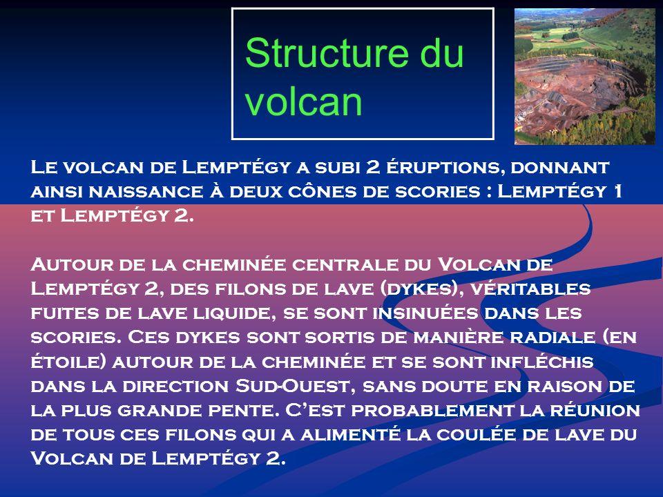 Structure du volcan Le volcan de Lemptégy a subi 2 éruptions, donnant ainsi naissance à deux cônes de scories : Lemptégy 1 et Lemptégy 2. Autour de la