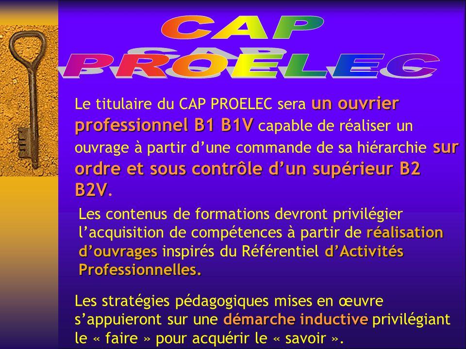 un ouvrier professionnel B1 B1V sur ordre et sous contrôle dun supérieur B2 B2V Le titulaire du CAP PROELEC sera un ouvrier professionnel B1 B1V capable de réaliser un ouvrage à partir dune commande de sa hiérarchie sur ordre et sous contrôle dun supérieur B2 B2V.