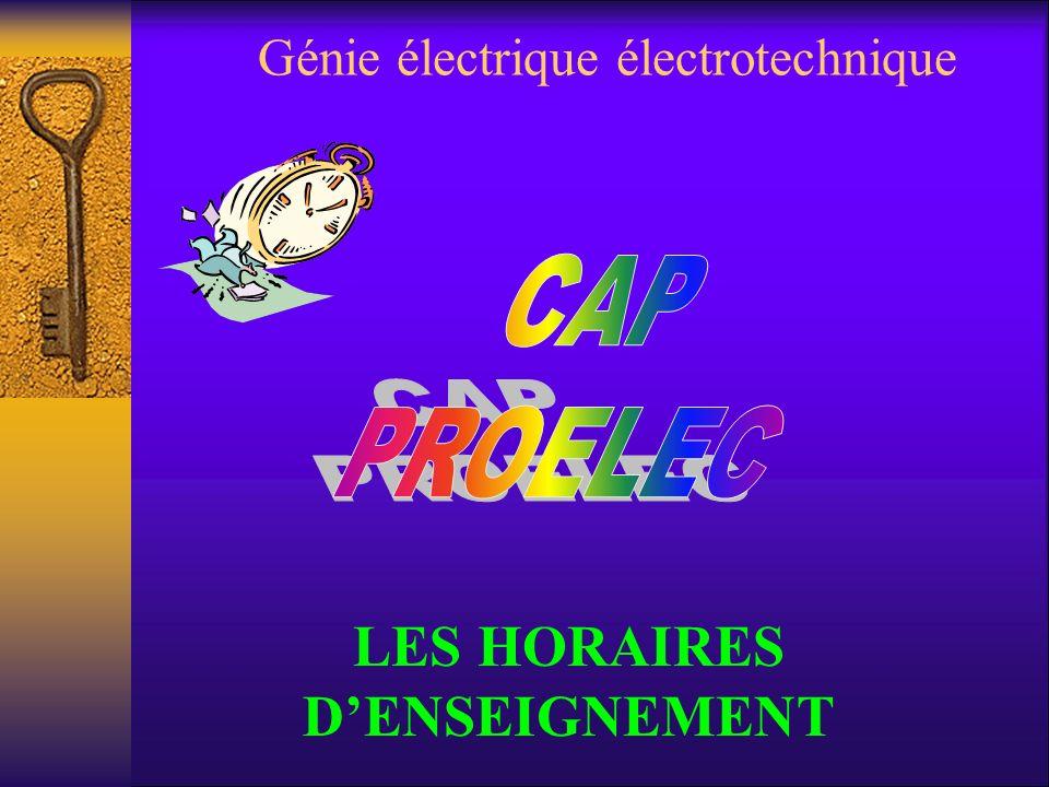 Génie électrique électrotechnique LES HORAIRES DENSEIGNEMENT