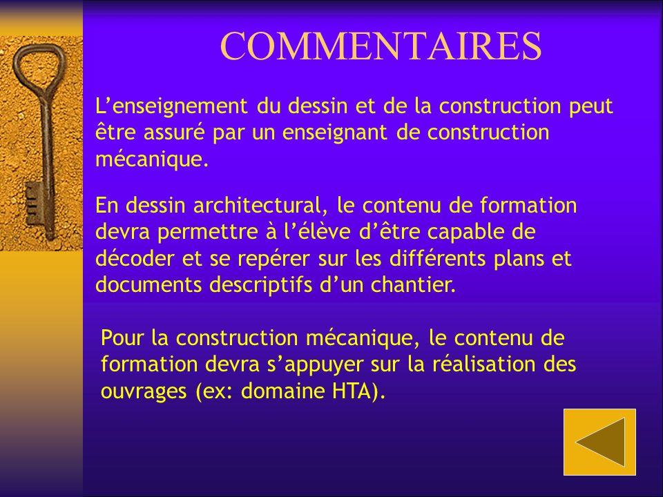 COMMENTAIRES Lenseignement du dessin et de la construction peut être assuré par un enseignant de construction mécanique.
