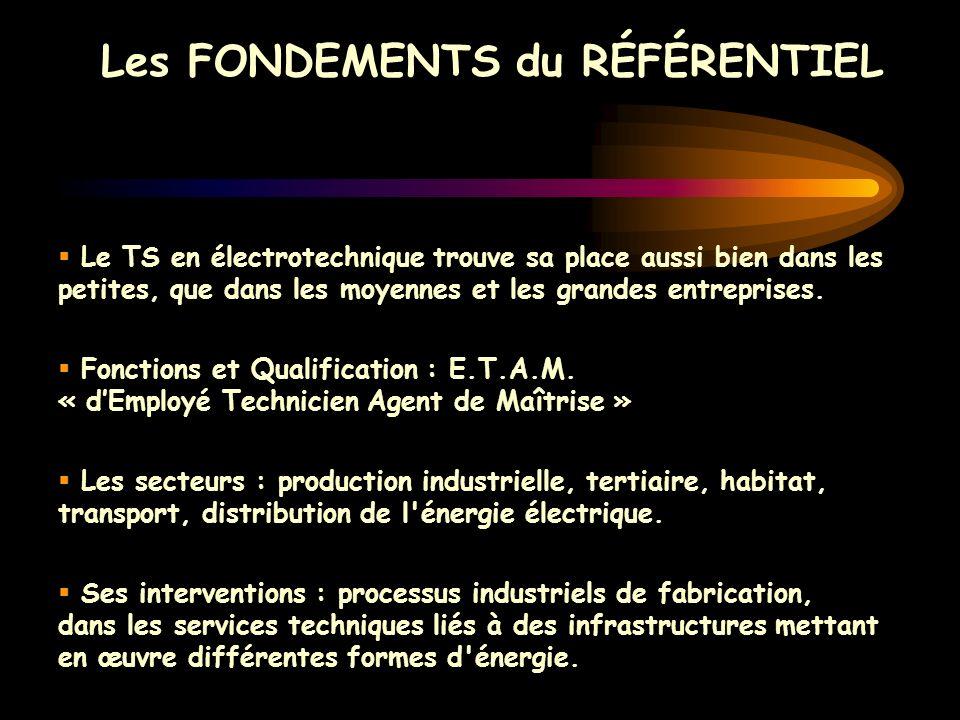 Les FONDEMENTS du RÉFÉRENTIEL Le TS en électrotechnique trouve sa place aussi bien dans les petites, que dans les moyennes et les grandes entreprises.