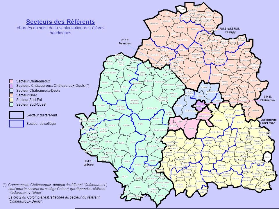 NR, IEN ASH 36 Secteur Châteauroux Secteurs Châteauroux / Châteauroux-Déols (*) Secteur Châteauroux-Déols Secteur Nord Secteur Sud-Est Secteur Sud-Ouest Secteur de collège Secteur du référent (*) Commune de Châteauroux : dépend du référent Châteauroux , sauf pour le secteur du collège Colbert, qui dépend du référent Châteauroux-Déols .