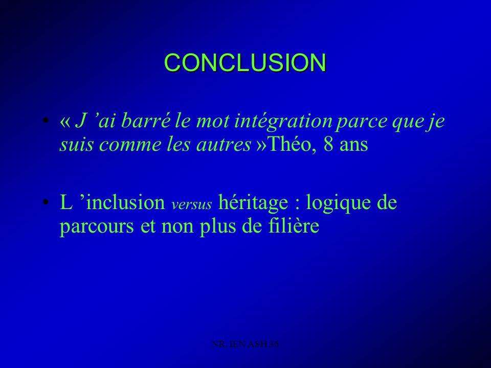 NR, IEN ASH 36 CONCLUSION « J ai barré le mot intégration parce que je suis comme les autres »Théo, 8 ans L inclusion versus héritage : logique de parcours et non plus de filière
