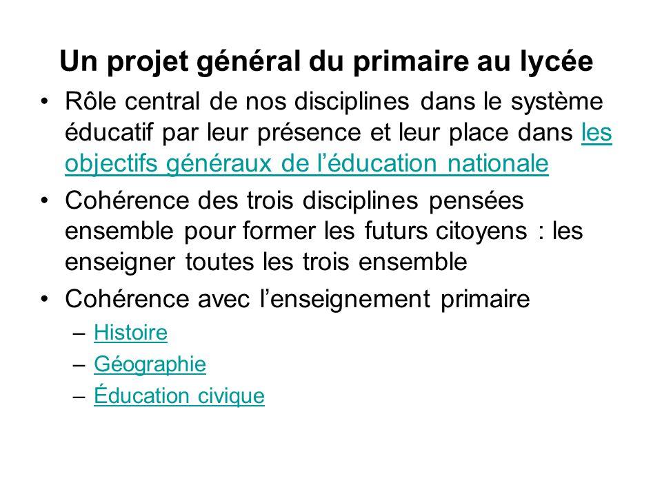 Un projet général du primaire au lycée Rôle central de nos disciplines dans le système éducatif par leur présence et leur place dans les objectifs gén