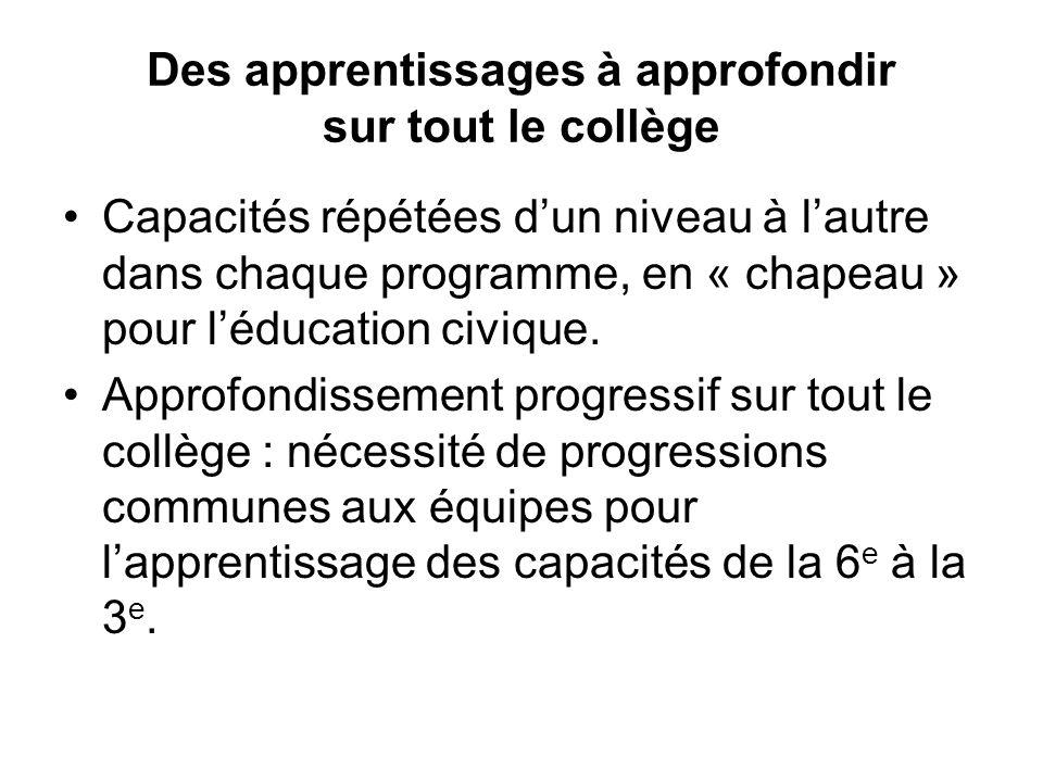 Des apprentissages à approfondir sur tout le collège Capacités répétées dun niveau à lautre dans chaque programme, en « chapeau » pour léducation civique.