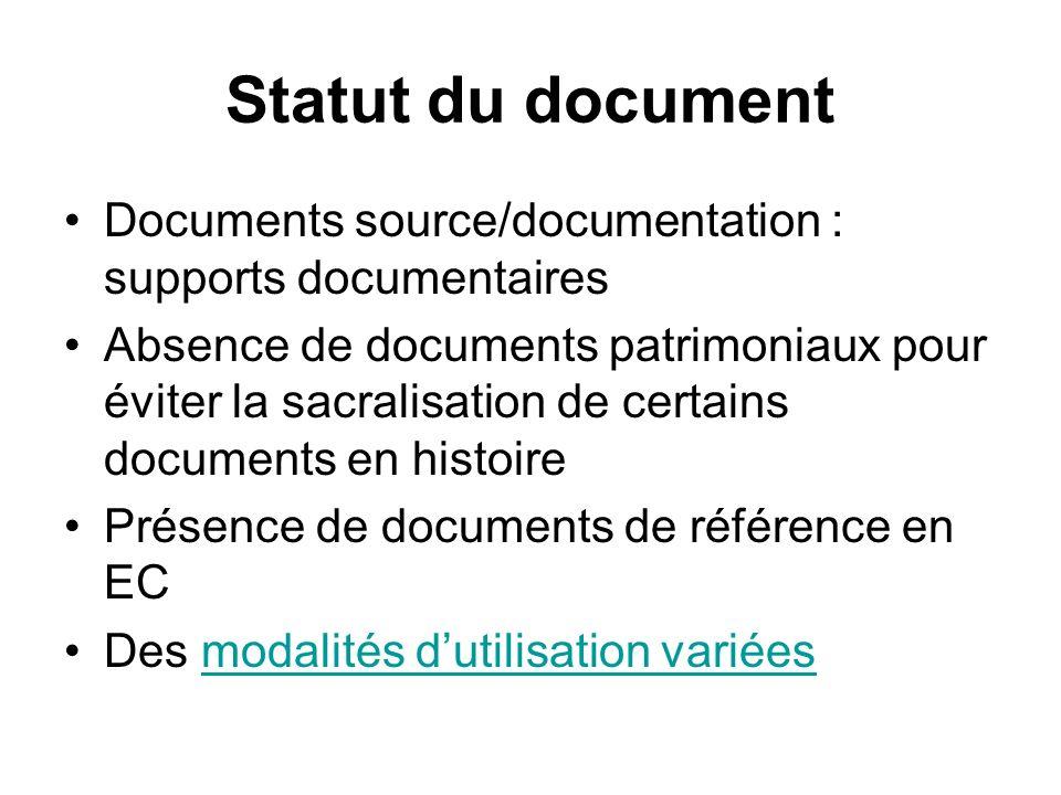 Statut du document Documents source/documentation : supports documentaires Absence de documents patrimoniaux pour éviter la sacralisation de certains