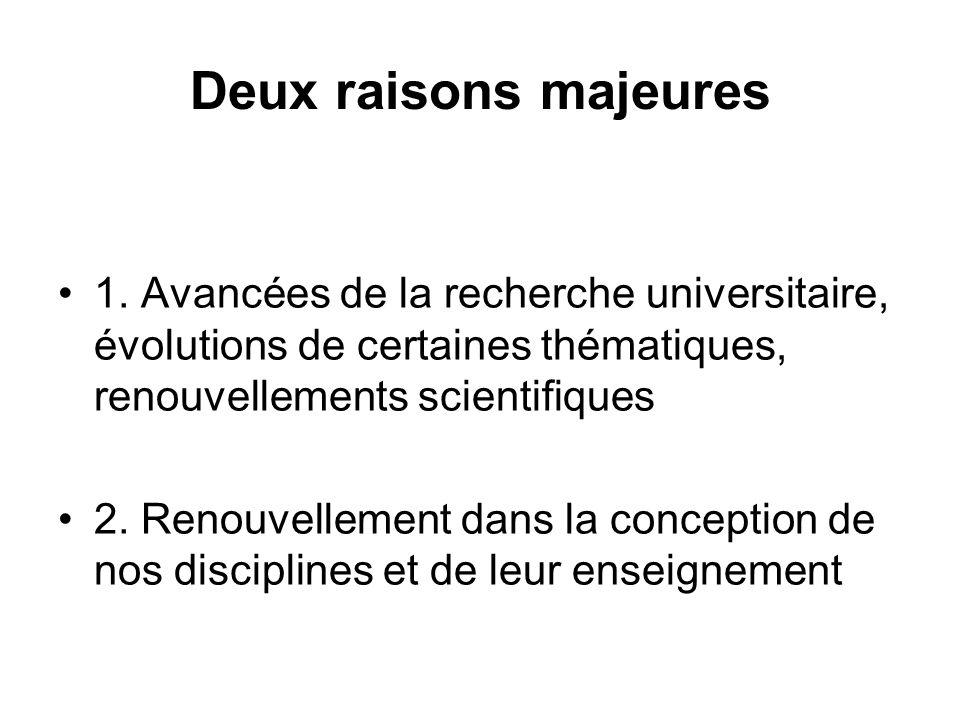 Deux raisons majeures 1. Avancées de la recherche universitaire, évolutions de certaines thématiques, renouvellements scientifiques 2. Renouvellement