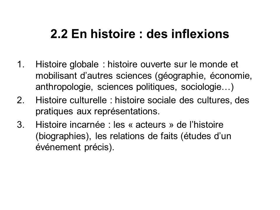 2.2 En histoire : des inflexions 1.Histoire globale : histoire ouverte sur le monde et mobilisant dautres sciences (géographie, économie, anthropologi