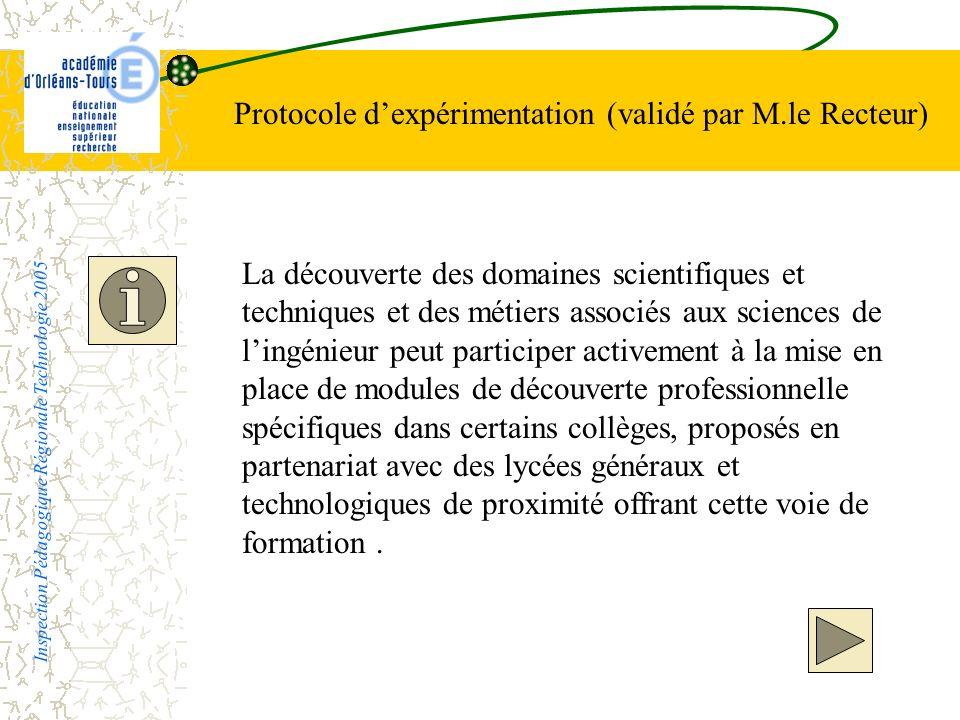 Protocole dexpérimentation (validé par M.le Recteur) La découverte des domaines scientifiques et techniques et des métiers associés aux sciences de li