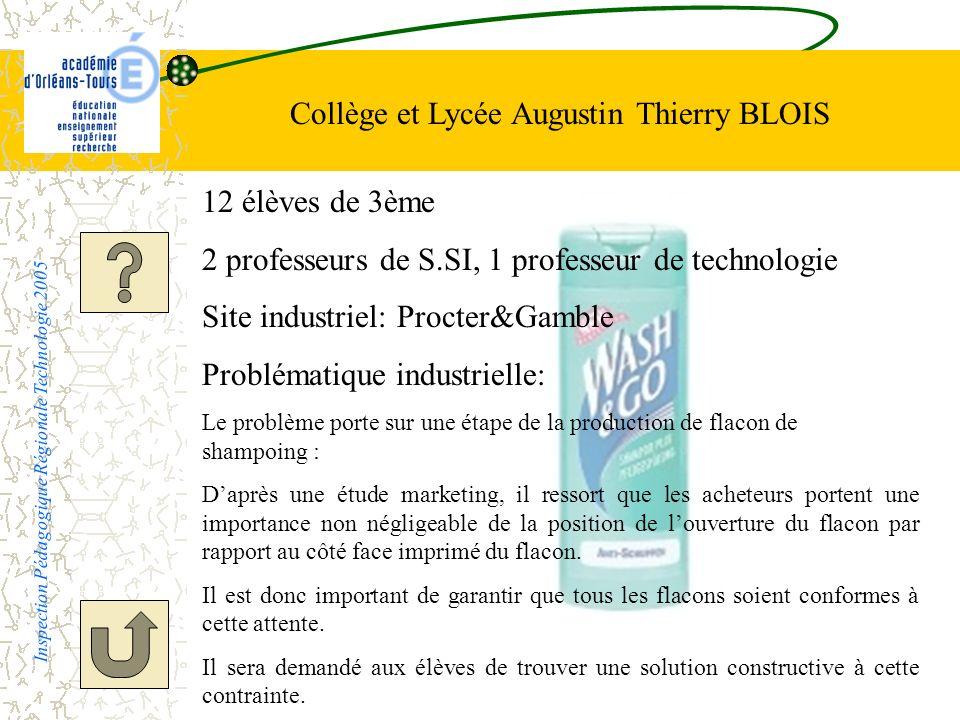 Collège et Lycée Augustin Thierry BLOIS Inspection Pédagogique Régionale Technologie 2005 12 élèves de 3ème 2 professeurs de S.SI, 1 professeur de tec
