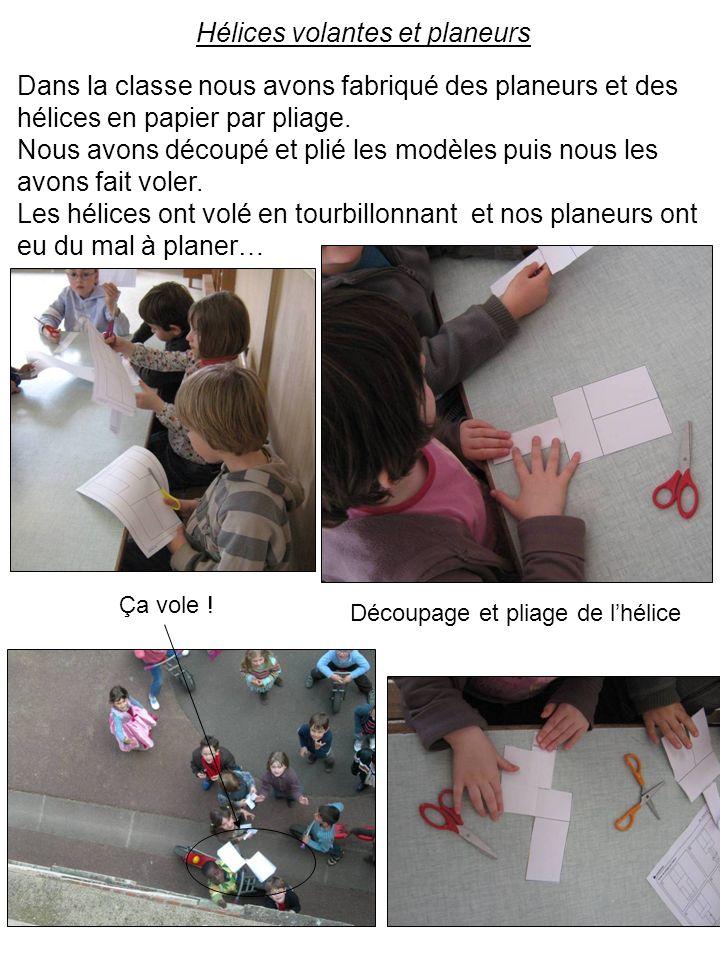 Dans la classe nous avons fabriqué des planeurs et des hélices en papier par pliage. Nous avons découpé et plié les modèles puis nous les avons fait v