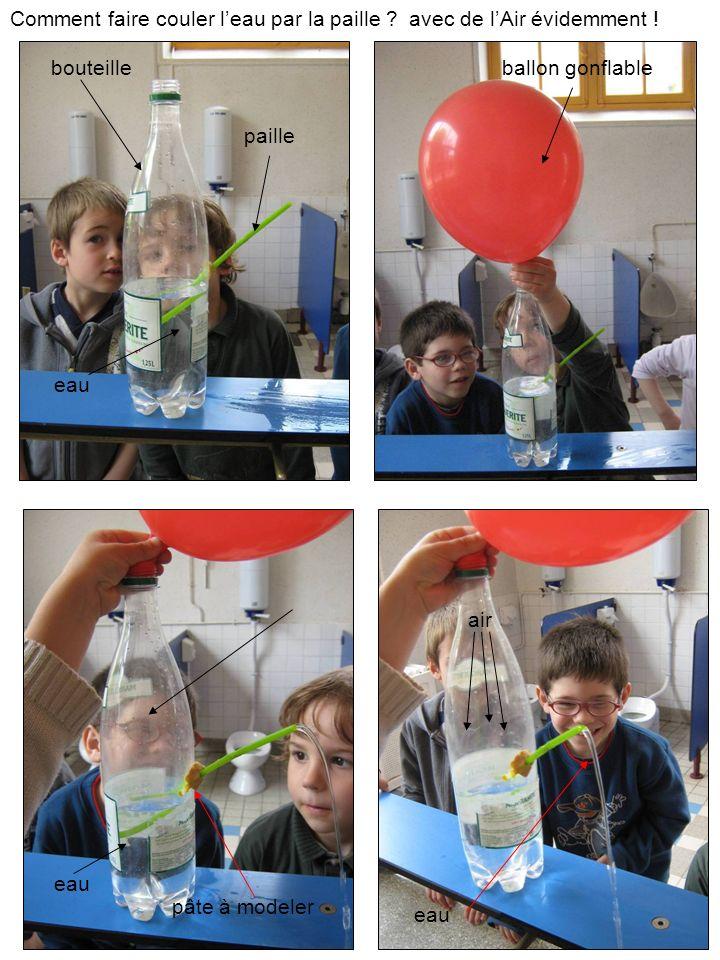 Comment faire couler leau par la paille ? paille bouteille avec de lAir évidemment ! ballon gonflable air eau pâte à modeler eau