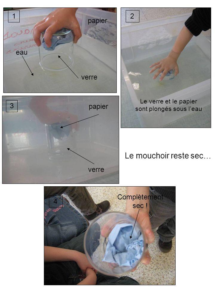 12 3 4 verre papier eau verre papier Le verre et le papier sont plongés sous leau Complètement sec ! Le mouchoir reste sec…