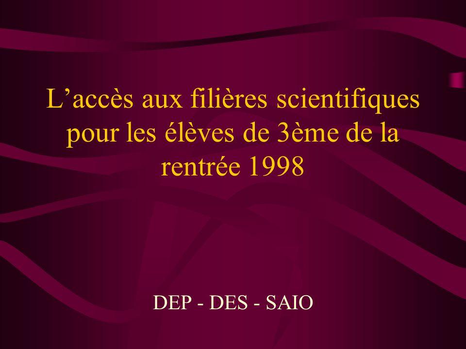Laccès aux filières scientifiques pour les élèves de 3ème de la rentrée 1998 DEP - DES - SAIO