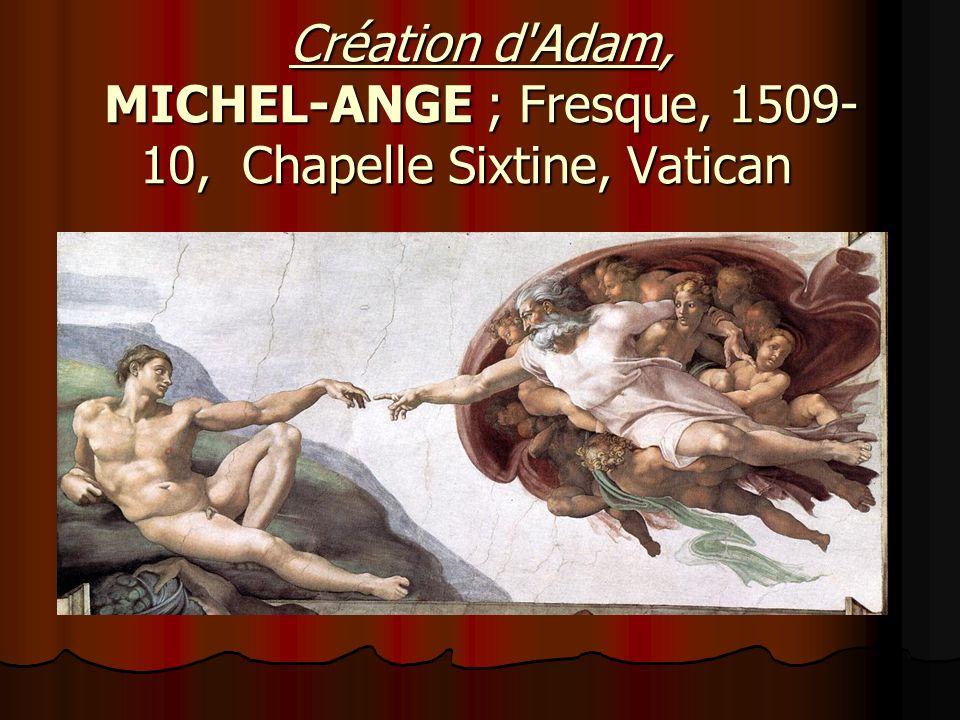 Création d Adam, MICHEL-ANGE ; Fresque, 1509- 10, Chapelle Sixtine, Vatican Création d Adam, MICHEL-ANGE ; Fresque, 1509- 10, Chapelle Sixtine, Vatican