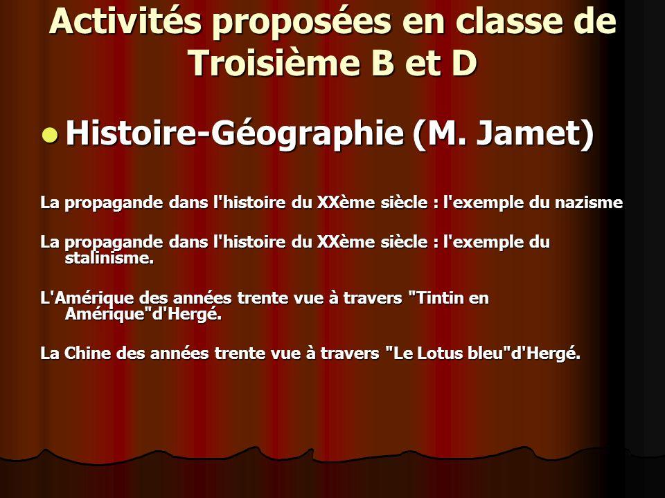 Activités proposées en classe de Troisième B et D Histoire-Géographie (M.