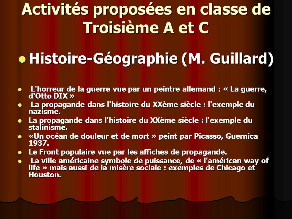 Activités proposées en classe de Troisième A et C Histoire-Géographie (M.