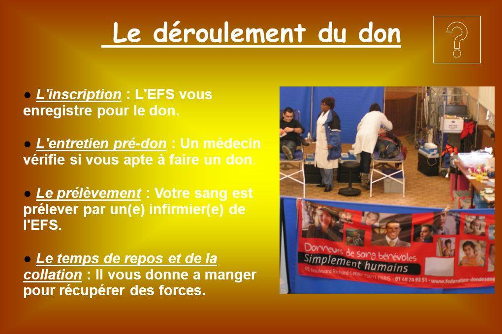 Le déroulement du don L'inscription : L'EFS vous enregistre pour le don. L'entretien pré-don : Un médecin vérifie si vous apte à faire un don. Le prél