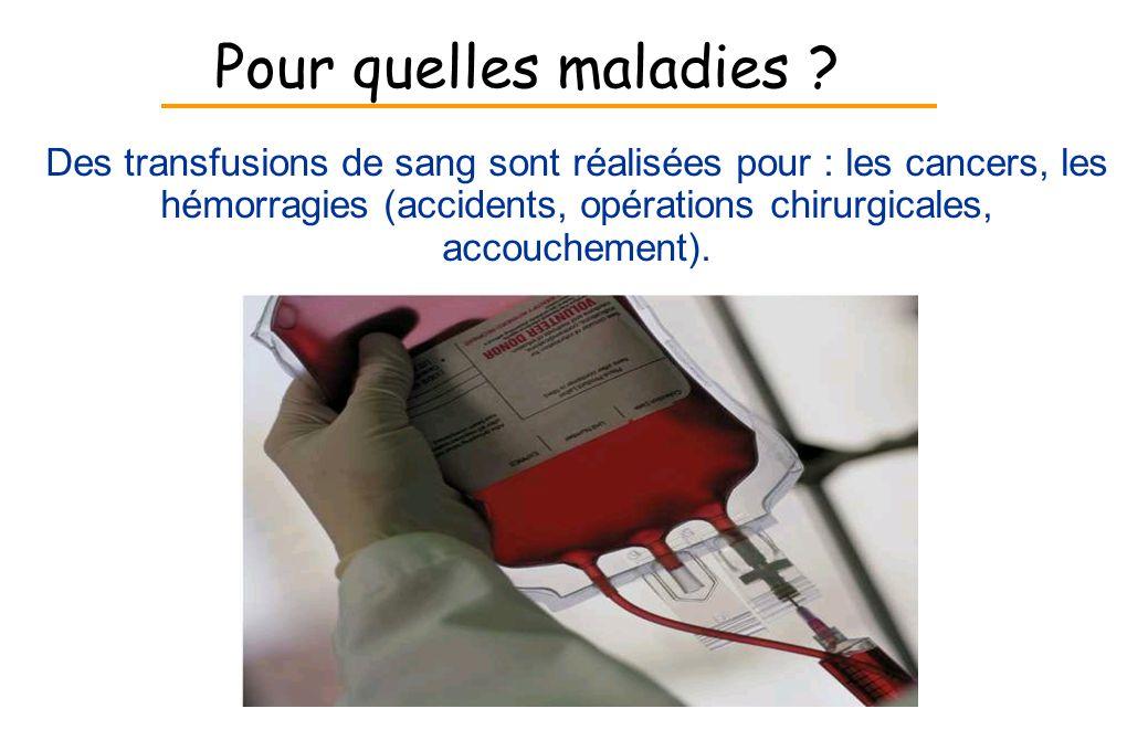 Pour quelles maladies ? Des transfusions de sang sont réalisées pour : les cancers, les hémorragies (accidents, opérations chirurgicales, accouchement