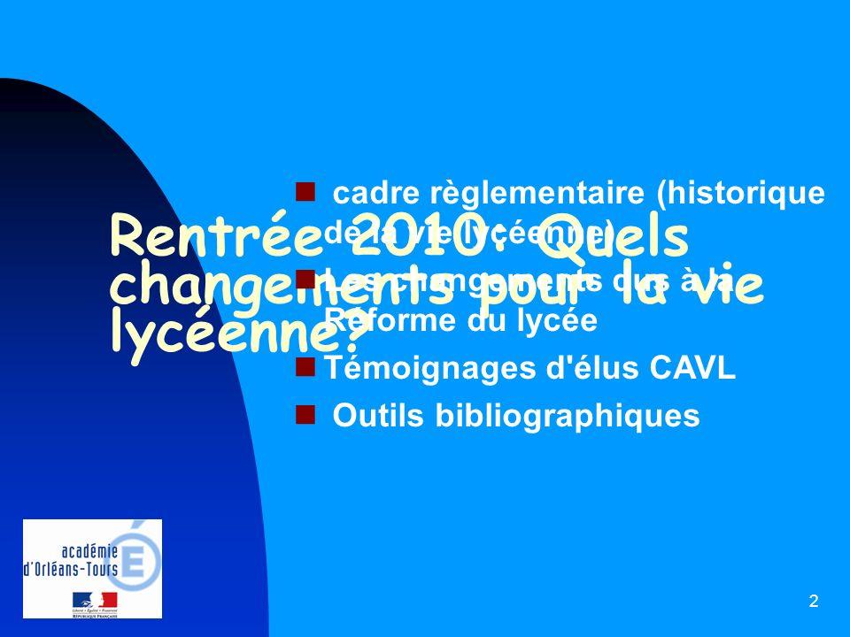 2 Rentrée 2010: Quels changements pour la vie lycéenne? cadre règlementaire (historique de la vie lycéenne) Les changements dus à la Réforme du lycée