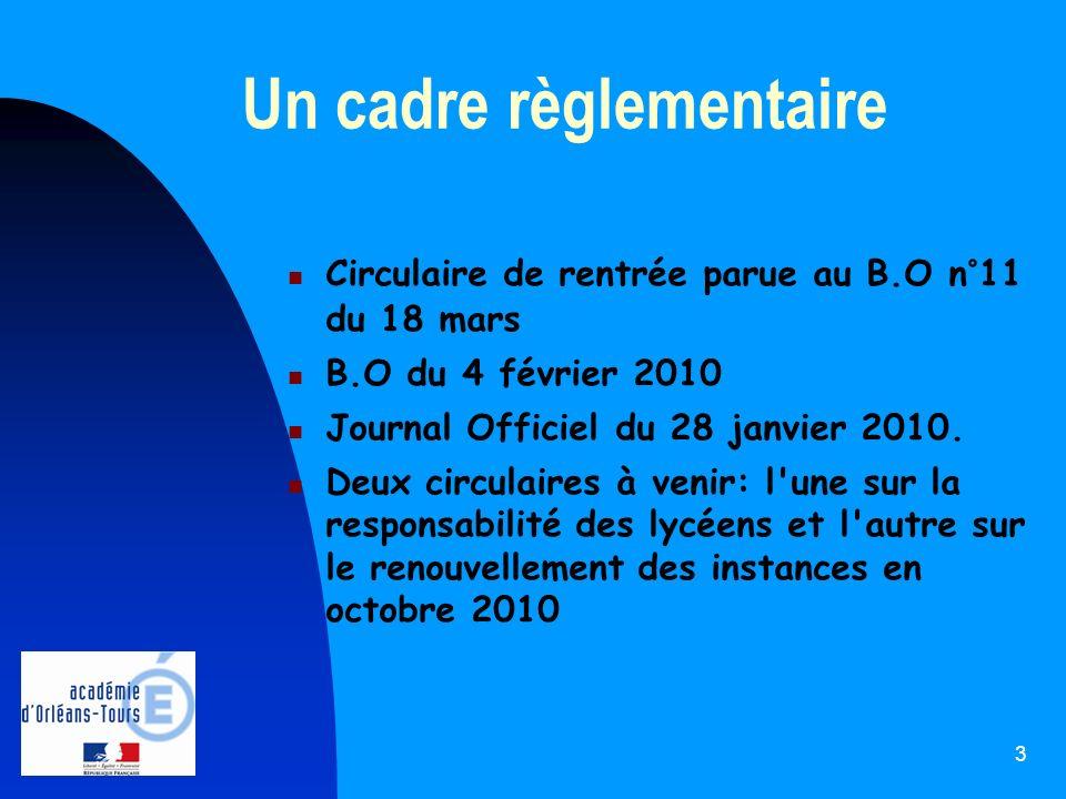 3 Un cadre règlementaire Circulaire de rentrée parue au B.O n°11 du 18 mars B.O du 4 février 2010 Journal Officiel du 28 janvier 2010. Deux circulaire