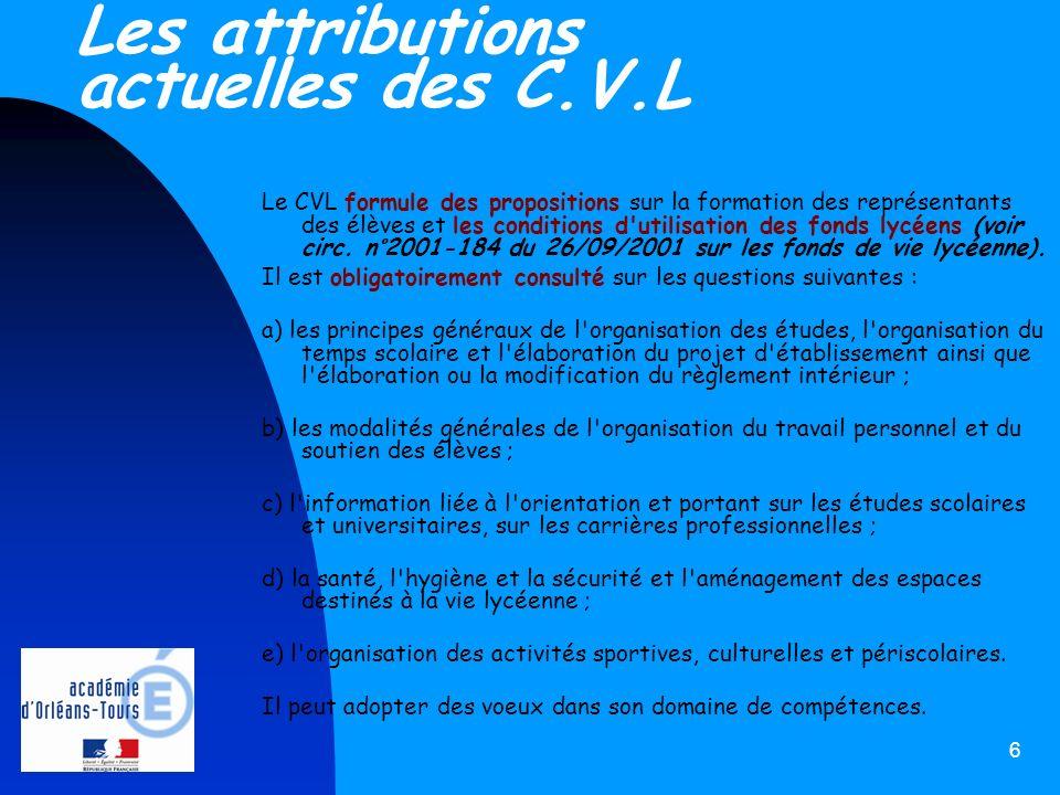6 Les attributions actuelles des C.V.L Le CVL formule des propositions sur la formation des représentants des élèves et les conditions d'utilisation d