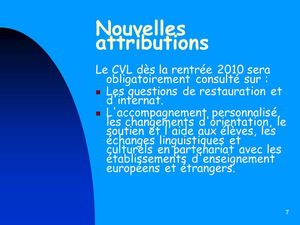 7 Nouvelles attributions Le CVL dès la rentrée 2010 sera obligatoirement consulté sur : Les questions de restauration et d'internat. L'accompagnement