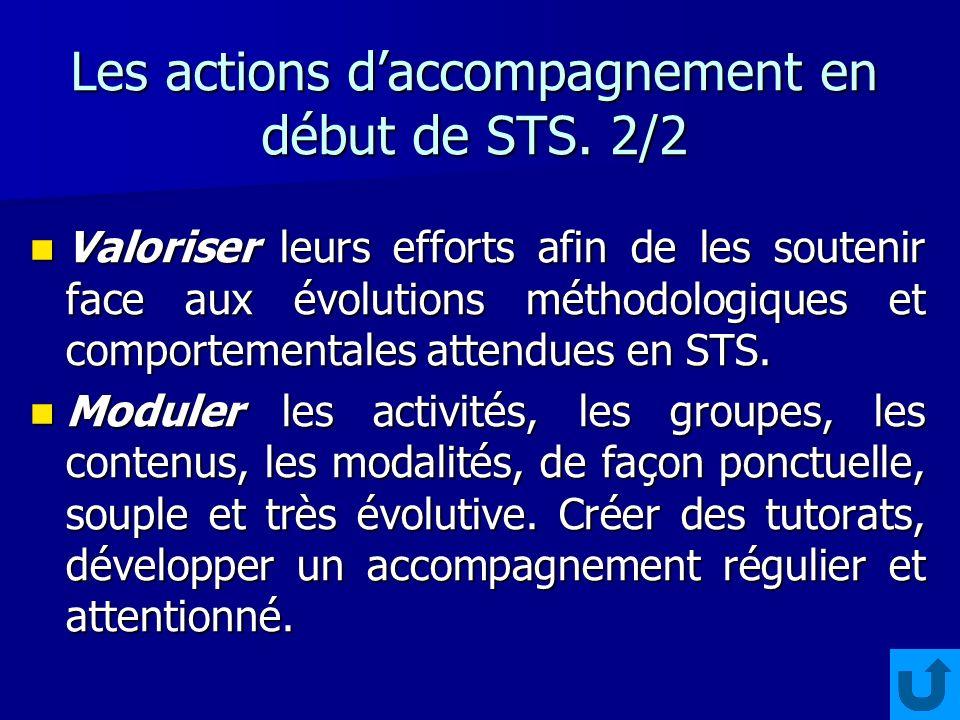 Les actions daccompagnement en début de STS. 2/2 Valoriser leurs efforts afin de les soutenir face aux évolutions méthodologiques et comportementales