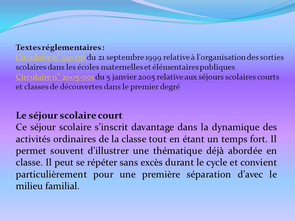 Textes réglementaires : Circulaire n° 99-136Circulaire n° 99-136 du 21 septembre 1999 relative à l'organisation des sorties scolaires dans les écoles