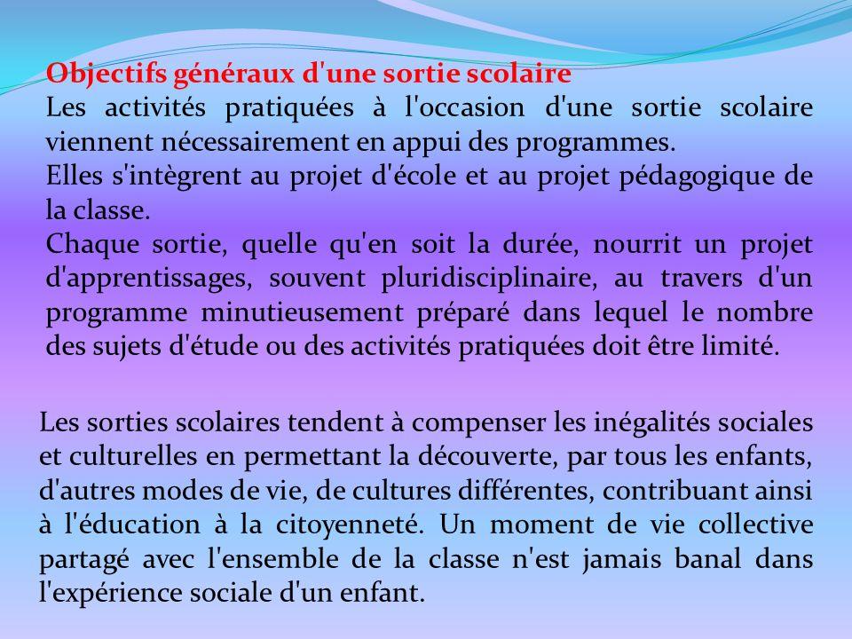 Objectifs généraux d'une sortie scolaire Les activités pratiquées à l'occasion d'une sortie scolaire viennent nécessairement en appui des programmes.
