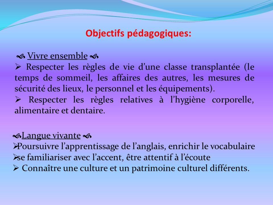Objectifs pédagogiques: Vivre ensemble Respecter les règles de vie dune classe transplantée (le temps de sommeil, les affaires des autres, les mesures