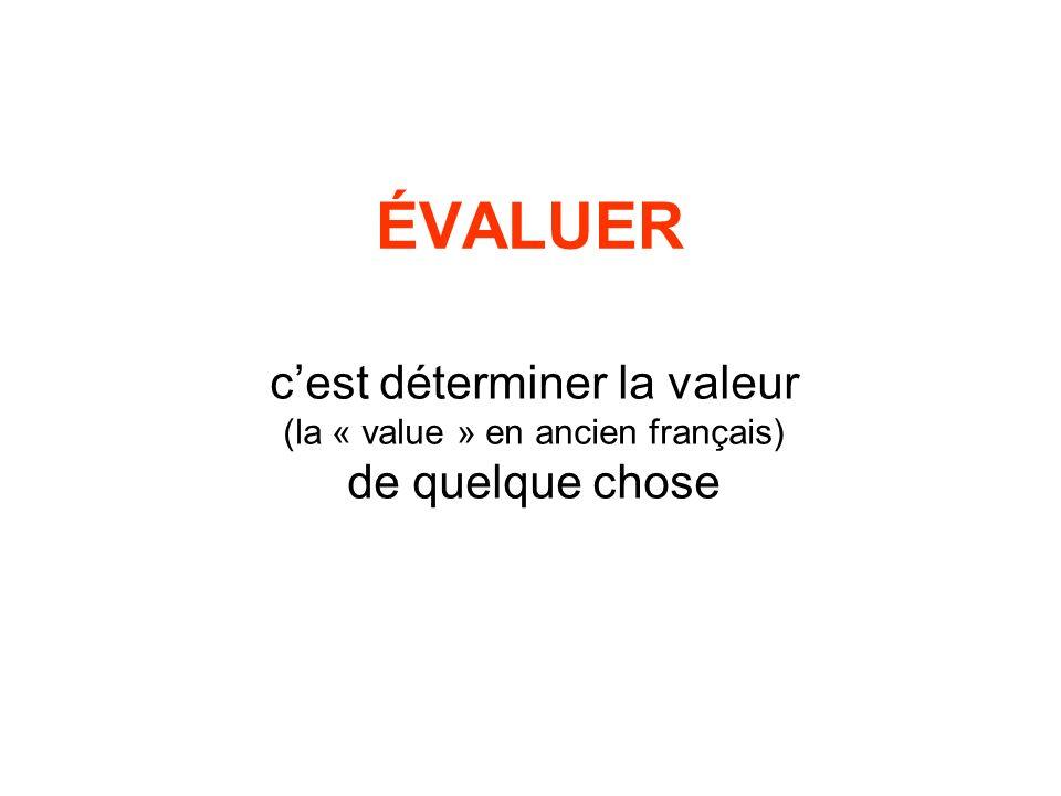 ÉVALUER cest déterminer la valeur (la « value » en ancien français) de quelque chose