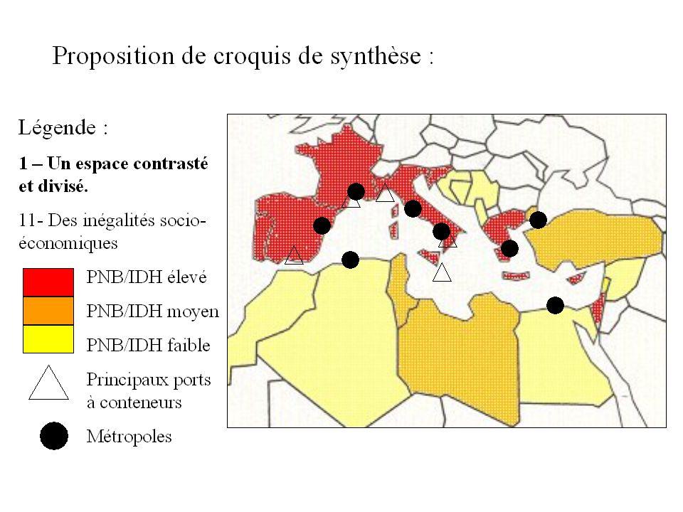 Proposition de croquis de synthèse : Légende : 1 – Un espace contrasté et divisé.