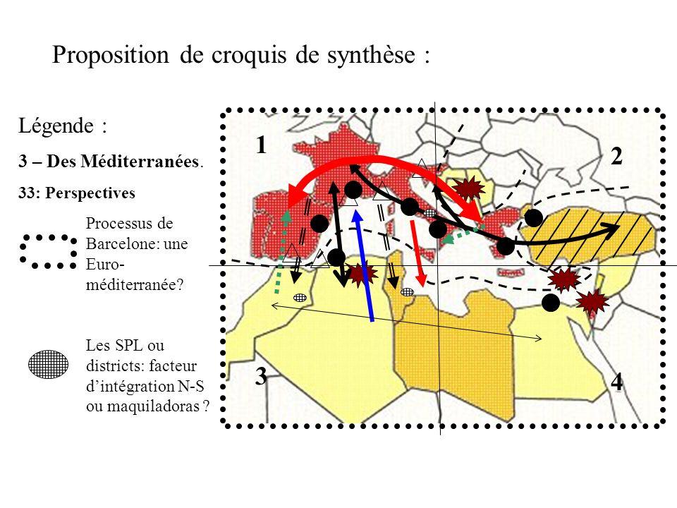 Proposition de croquis de synthèse : Légende : 3 – Des Méditerranées. 33: Perspectives Processus de Barcelone: une Euro- méditerranée? Les SPL ou dist