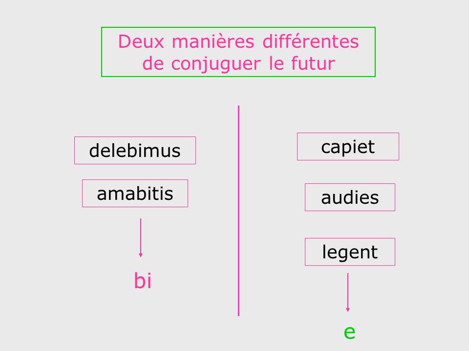 delebimus audies amabitis capiet legent Deux manières différentes de conjuguer le futur bi e