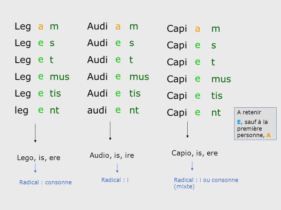 Leg leg am s t mus tis nt eeeeeeeeee Audi audi am s t mus tis nt Capi am s t mus tis nt Lego, is, ere Audio, is, ire Capio, is, ere Radical : consonne