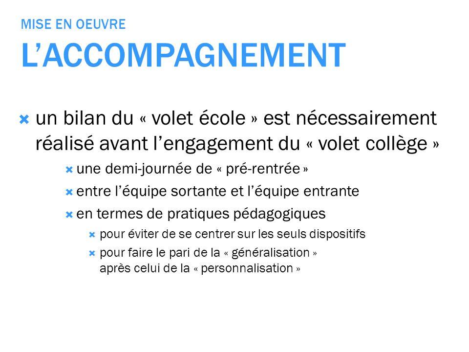 MISE EN OEUVRE LACCOMPAGNEMENT un bilan du « volet école » est nécessairement réalisé avant lengagement du « volet collège » une demi-journée de « pré