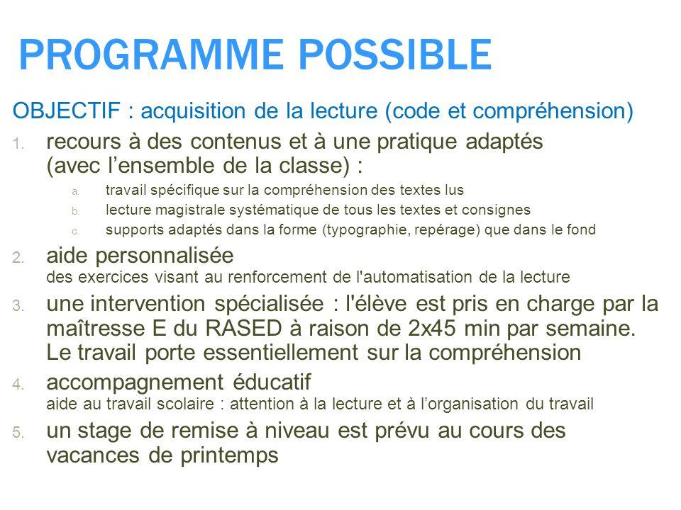 OBJECTIF : acquisition de la lecture (code et compréhension) 1. recours à des contenus et à une pratique adaptés (avec lensemble de la classe) : a. tr