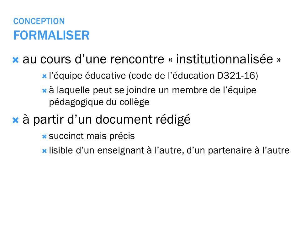 CONCEPTION FORMALISER au cours dune rencontre « institutionnalisée » léquipe éducative (code de léducation D321-16) à laquelle peut se joindre un memb