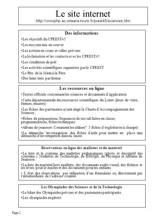 Le site internet http://wwwphp.ac-orleans-tours.fr/prest45/sciences.htm Les ressources en ligne Textes officiels concernant les sciences et documents