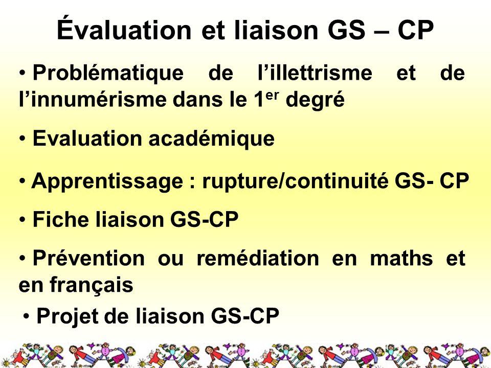 Évaluation et liaison GS – CP Problématique de lillettrisme et de linnumérisme dans le 1 er degré Evaluation académique Apprentissage : rupture/contin