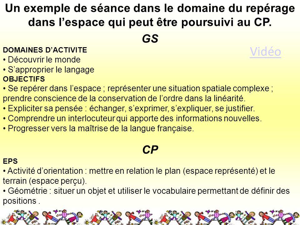 Un exemple de séance dans le domaine du repérage dans lespace qui peut être poursuivi au CP.