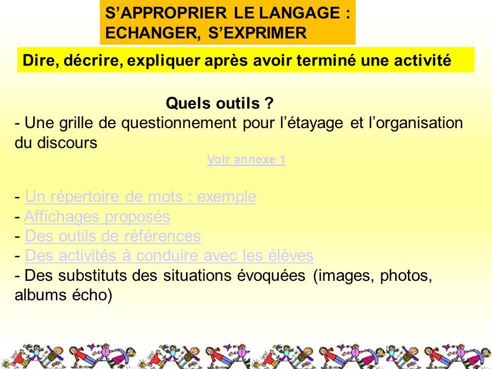 SAPPROPRIER LE LANGAGE : ECHANGER, SEXPRIMER Quels outils .