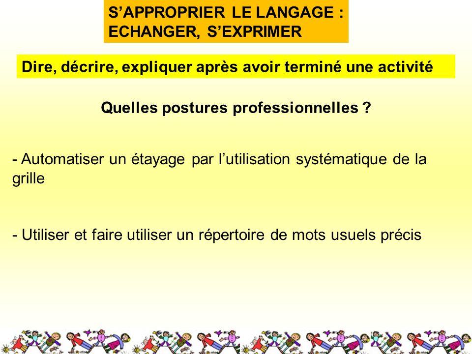 SAPPROPRIER LE LANGAGE : ECHANGER, SEXPRIMER Quelles postures professionnelles .