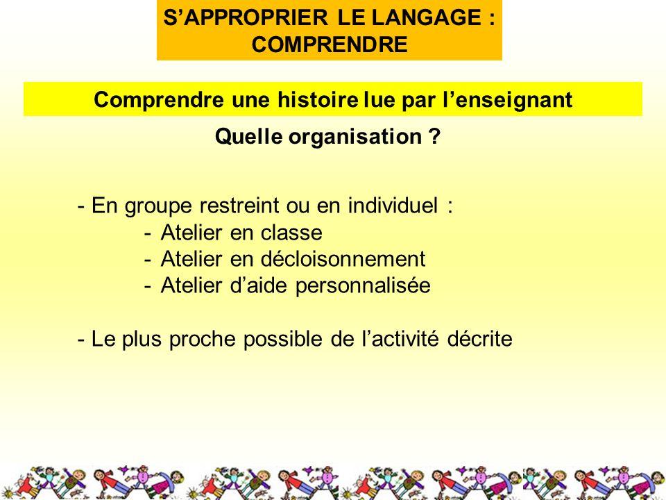 SAPPROPRIER LE LANGAGE : COMPRENDRE Quelle organisation .